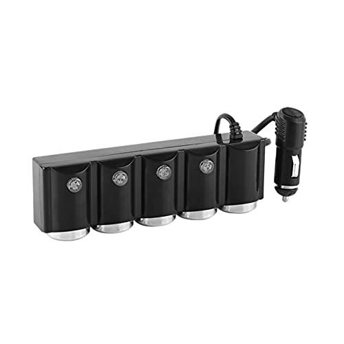 LakerBig Dispensador de encendedor de cigarrillos de automóviles de 4 vías Multi-socket USB Cargador adaptador de alimentación con interruptor Doual USB Puerto Ajuste para teléfonos inteligentes D