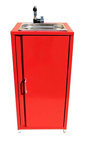 TMM Mobiler Spülbecken Waschbecken Spüle Handwaschbecken Rot inkl. Zubehör/Spülbecken für Verkaufsstand Camping