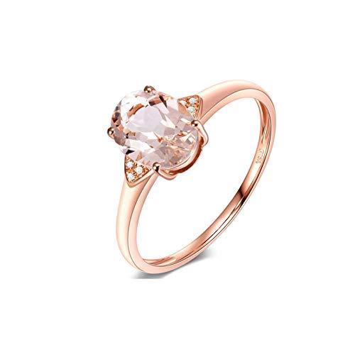 AueDsa Ring Rosegold 18 Karat (750) Rotgold Verlobungsringe für Damen Oval Morganite Pink Claro Weiß 1ct Größe 62 (19.7)