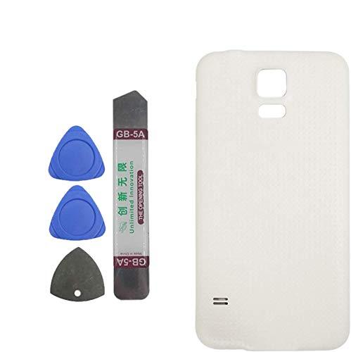 Upplus Tapa trasera compatible con Samsung Galaxy S5 G900 G900A G900P G900T G900V G900R4 G900F color blanco