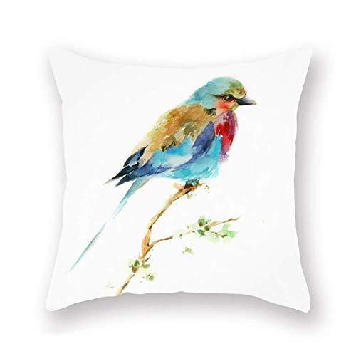 Fundas Cojín Almohada Microfibra 45x45cm Casa Campo rústica Animal Lovely Bird Super Acuarela Cama Granja (Bird) Decorativa con Cremallera Invisible Funda Cojín