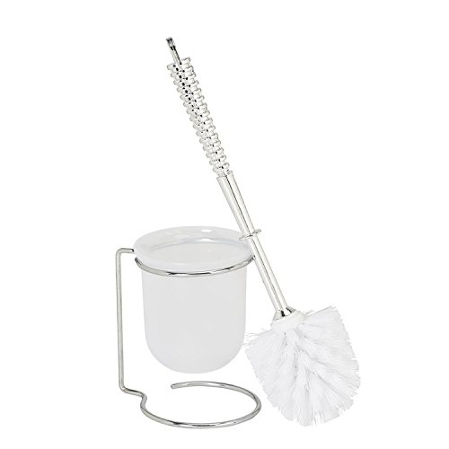 Bath Bliss Steel Holder in Chrome Toilet Brush, Clear