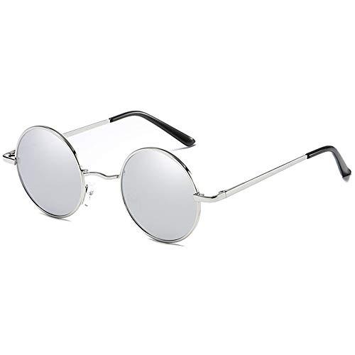 Yangmanini Gafas De Sol De Protección Clásica Polarizadas Redondas De Metal con Protección UV, Montura Plateada, Azul/Verde/Plateado/Amarillo, Lentes for Hombres Y Mujeres con Las Mismas Gafas