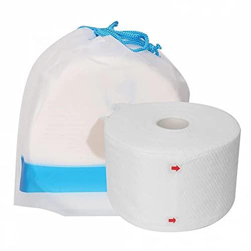LORIEL Tissu de Coton pour Le Visage, Nettoyage de Maquillage Nettoyage Tissu Rouleau de Papier Tissu Papier, Humide et sèche Double Usage/réutilisation, pour Maison/Bureau/Voyage, 80 comprimés/Sac
