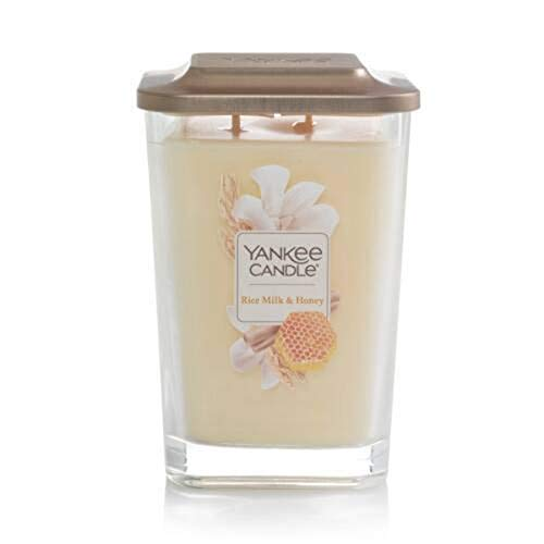 Yankee Candle Elevation Collection with Platform Lid Rice Milk & Honey Scented Candle, Large 2-Wick, 80 Hour Burn Time