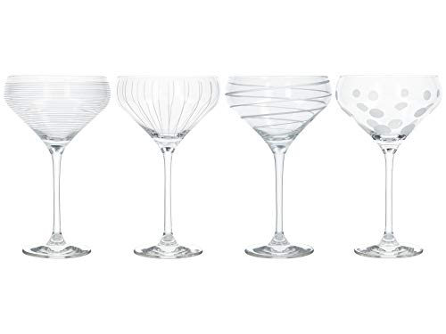MIKASA 'Cheers' Champagne Saucers/Champagne Flutes with Decorative Etching, Crystal Glass, Silver Effect, 400 ml, Set of 4