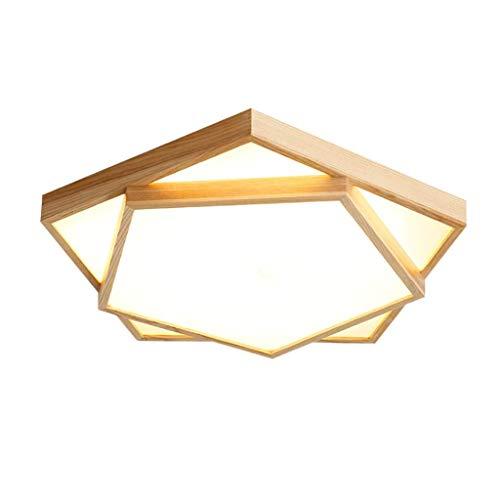 YANQING Duurzame Plafondlampen Effen Houten Plafond Lamp Japanse Stijl Eenvoudige LED Geometrische Plafond Licht Slaapkamer Woonkamer Versierde Kroonluchter Plafond Lichten (Kleur : Warm Licht)