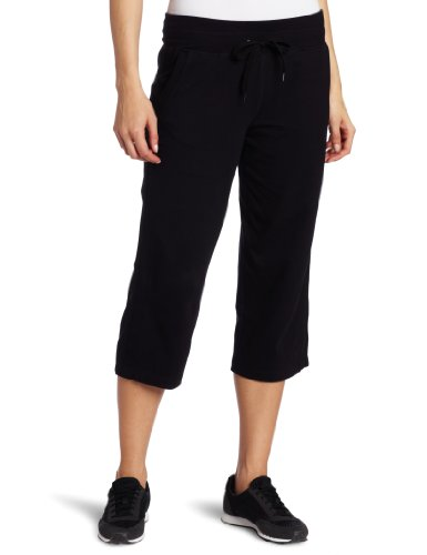 Danskin Women's Plus SizeDrawcord Crop Pant Size, Rich Black, 3X