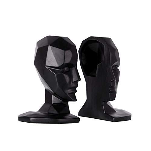 Zwarte hoofd en gezicht boekensteun, moderne minimalistische home decoratie, kantoor decoraties, studie hars ambachten