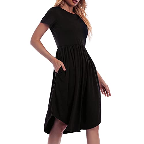 NINILUX Women's Casual Loose Dresses Short Sleeve Swing Pleated Midi Dress with Pockets Black XL