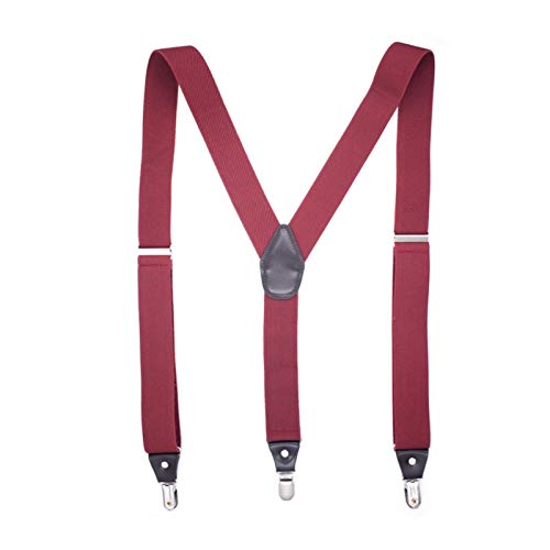 QYQQFZ Suspenders - Solid Color Y-Back Suspenders Adjustable Elastic Shoulder Strap (Red)
