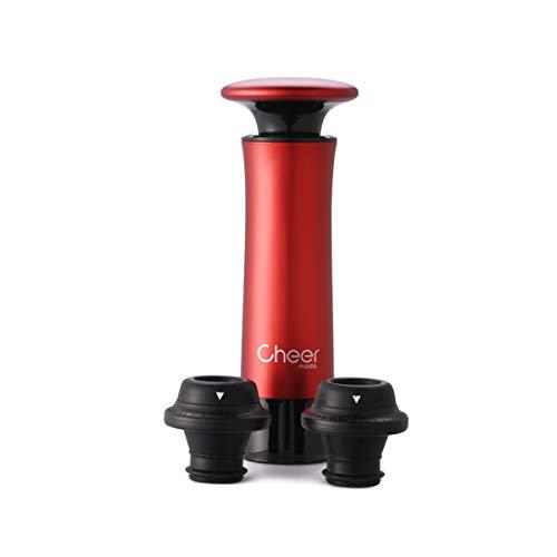 CHEER MODA Wine Saver Vakuumpumpen-Kit mit 2 Flaschenverschlüssen (Rot)