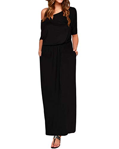 Style Dome Maxikleid Damen Elegant Off Shoulder Lang Sommerkleid Solid Lässig Strandkleider Schwarz-993231 XL