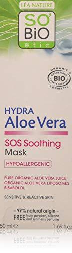 SO'BiO Etic Cosmebio Hypoallergeen Gevoelige en Reactieve Huid Hydra Aloe Vera Sos Kalmerend Masker, 50 ml