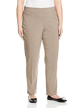 Briggs New York Women s Plus-Size Super Stretch Millennium Welt Pocket Pull-On Career Pant Cobblestone 20W