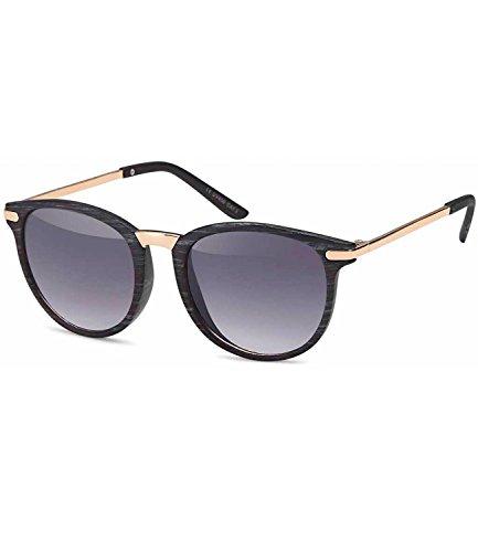 Caripe Retro Sonnenbrille Vintage Panto Damen Herren Holz-Optik Metallbügel verspiegelt + getönt - 139 (1007 - Holzoptik grau - Smoke Verlauf)
