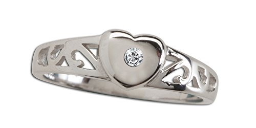 Sterling Silver Baby Heart Ring with a Dainty Diamond Accent