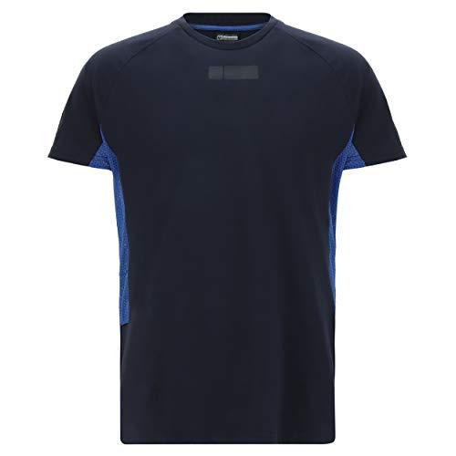 Camiseta Regular con Mangas raglán e Inserciones en Tejido de Rejilla Azul...
