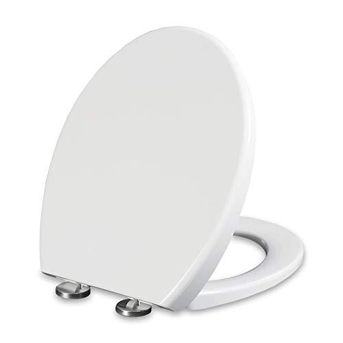 Emsmil Tapa WC Universal Forma de O Blanco con Desmontaje Rápido de 1 Botón y Bisagras Ajustables Cierre Suave Lento Polipropileno Asiento Inodoro Fácil de Instalación y Limpieza
