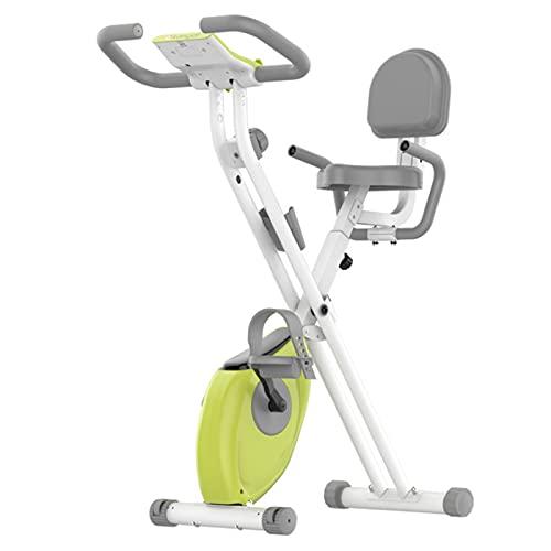 WLL-DP Bicicleta Estática Plegable Portátil, Monitor LCD, 8 Configuraciones De Resistencia Magnética, Altura Ajustable, con Soporte para Teléfono