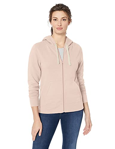 Amazon Essentials - Sudadera de rizo francés y forro polar con capucha y cremallera completa de arriba a abajo para mujer, Rosa (Light Pink), US XL (EU 2XL)