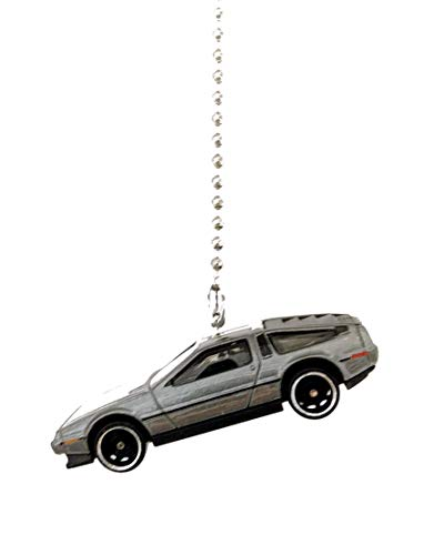 Diecast Custom Car Truck Ceiling Fan Light Pull Chain Christmas Ornaments (1982 DMC Delorean Dark Grey Hybrid)