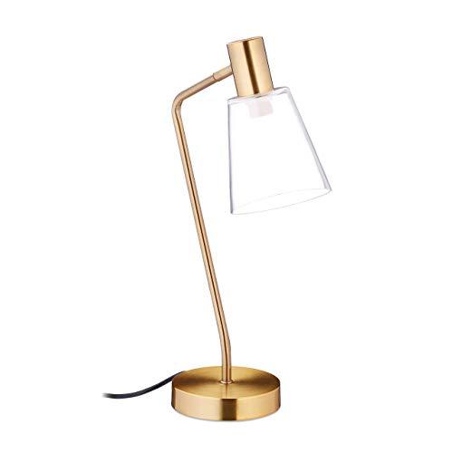 Relaxdays Lámpara de escritorio, Pantalla de cristal, E27, 40W, 52,5 x 13 x 30 cm, Dorada
