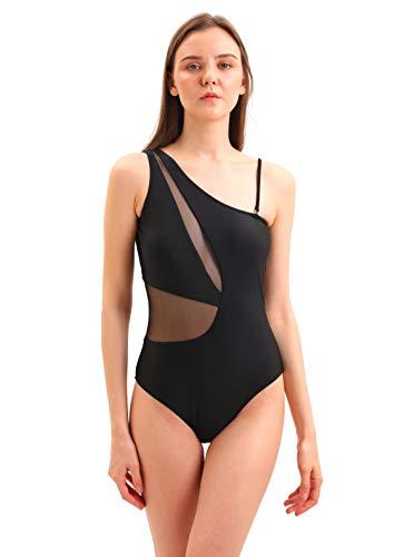SOL Y PLAYA - Bañador Bikini Trikini una Pieza un Hombro asimétrico Transparencias Sexy Moderno para Mujer Chica Verano (42 - L, Negro)