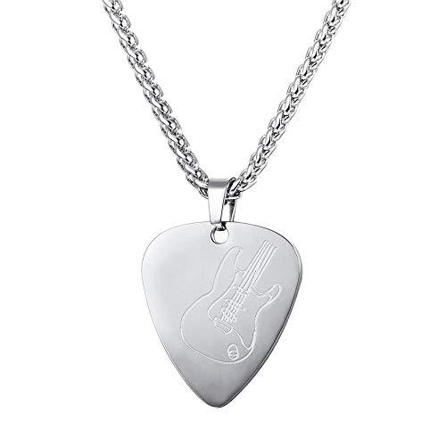 Collar con colgante de púa de guitarra de acero inoxidable, collar con forma de amor, cadena de patrón de guitarra para mujeres, hombres, niñas y niños regalo