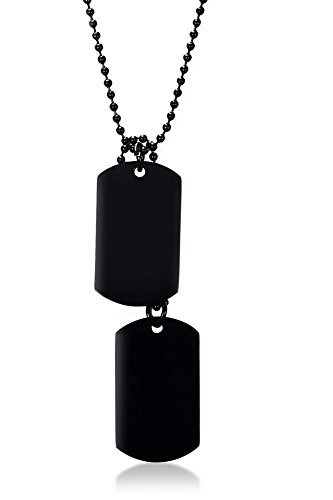 "Vnox Mens Black Stainless Steel Double Plain Dog Tag Dangling Pendant Necklace,Bead Chain 24"" Delaware"