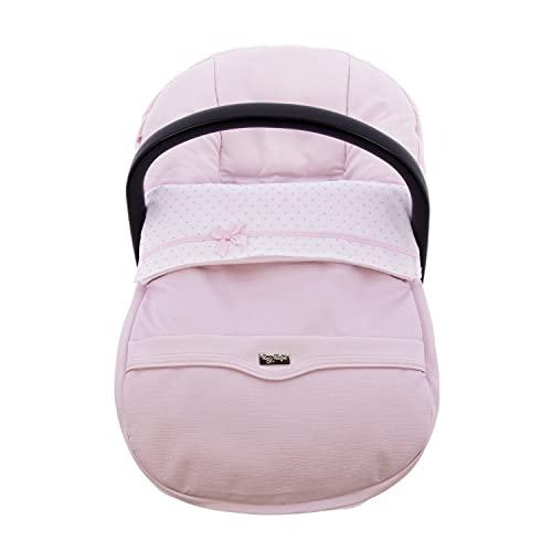 Funda + Saco Universal para Silla de coche GRUPO 0 Rosy Fuentes - Saco para Silla de Bebé Grupo 0 - Equipado para ser Ajustado perfectamente 0-rosa