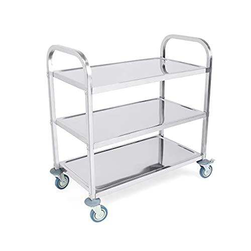 Carro de servicio de cocina de acero inoxidable de 3 capas de almacenamiento para hotel, restaurante, carrito de herramientas, carrito de cocina de 85 X 45 X 90Cm