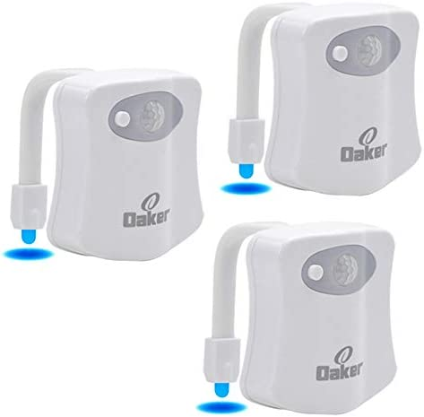 Oaker Toilet Night Light 3 Pack Novelty Motion Sensor and Light Detection 8 Colors Glow Toilet product image