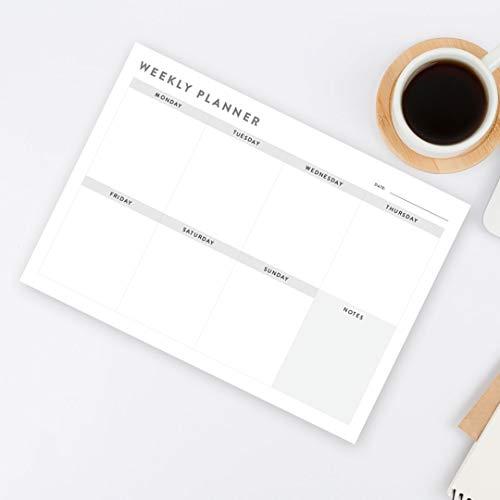 Planificador semanal de escritorio organizador de listas de tareas para hacer planificación, agenda de comidas A4 x 50 hojas