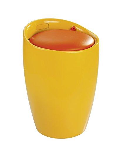 WENKO 20626100 Hocker Candy Orange - Badhocker, mit abnehmbarem Wäschesack(100 % Polyester), Kunststoff - ABS, 36 x 50.5 x 36 cm, Orange