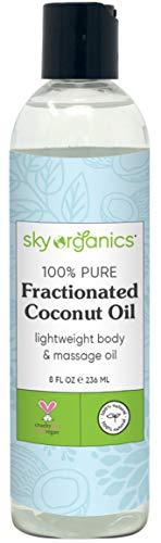 Fractionated Coconut Oil by Sky Organics (8 oz) Natural Fractionated Coconut Oil MCT Oil Moisturizing Coconut Carrier Oil Body Oil Coconut Makeup Remover Coconut Oil for Hair Skin DIY Fragrance Free