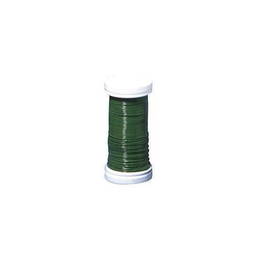 Rayher 2425013 Blumendraht, grün lackiert, 0,35 mm ø, SB-Btl. Spule 100 m, Material Eisen, nickelfrei, Basteldraht, Wickeldraht