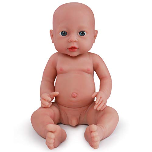 Vollence 16 inch Realistic Lifelike Baby Doll That Look Real,Not Vinyl Material Dolls,Real Full Silicone Reborn Baby Dolls,Soft Handmade Newborn Silicone Baby Doll -Boy