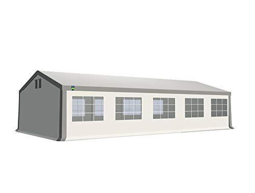 KC Partyzelt 5x10 m Pavillon Zelt 240g/m² - PE Plane - Gartenzelt Festzelt Bierzelt - Rahmen aus Stahl - Inkl. Seitenwände & Giebelwände - Grau