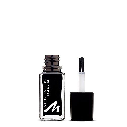 Manhattan Last & Shine Nagellack – Schwarzer, glänzender Nail Polish für 10 Tage perfekten Halt – Farbe Black Is Back 950 – 1 x 10ml