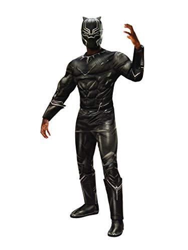 Rubie 's Herren-Oberkörper-Kostüm mit vielen Muskeln Marvel Bürgerkrieg Black Panther Deluxe, Standard, Brust 111,8 cm Taille 76,2–86,4 cm Hosenlänge 83,8 cm