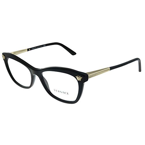 Versace VE 3224 GB1 Black Plastic Cat-eye Eyeglasses 54mm