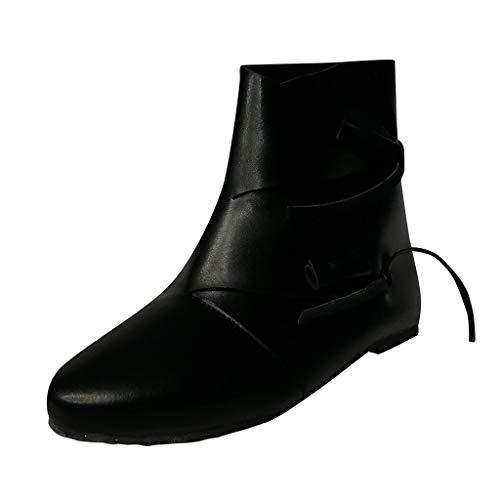 ZHANSANFM Kurz Stiefel Damen Halbschuhe Frauen Biker Ankle Boots Chelsea Loafers Schnalle Stiefeletten Mode Elegant Lederstiefel Freizeitschuhe Retro Schlupfstiefel Flacheschuhe (35 EU, Schwarz)