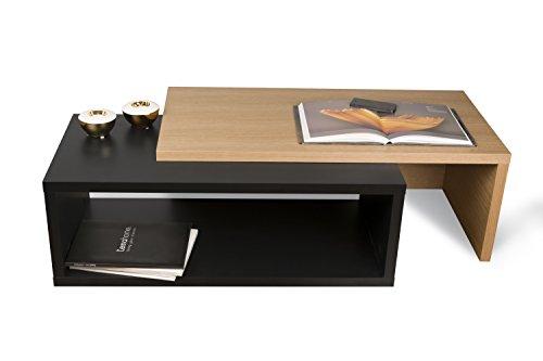 TemaHome Jazz Table basse, Chêne placage, Noir, 90 x 45 x 33 cm