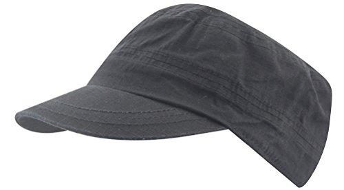 100% coton Army Men Camp militaire Cap Sun Snapback réglable Sport Casual Everyday Hat (4640noir)