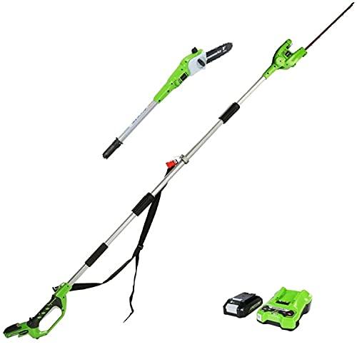 Greenworks Podadora y cortasetos inalámbricos 2en1...