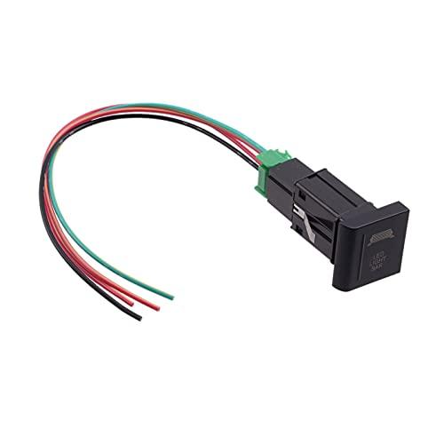 RJJX Coche 5 Pin LED Barra de luz Interruptor de Empuje On-Off Red 12V 3A Fit para la protección contra sobrecarga VW AMAROK