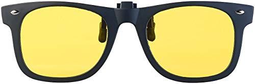 PEARL Gelbe Brille: Nachtsicht-Brillenclip in klassischem Retro-Look, polarisiert, UV400 (Nachtfahr-Brille)