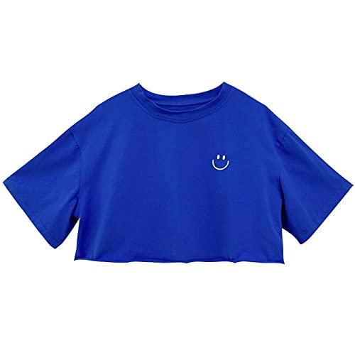 Cuello Redondo Camiseta Crop Top Mujer Mujer Manga Corta Crop Top Aesthetic con Azul Patrón De Smiley Top Ombligo S