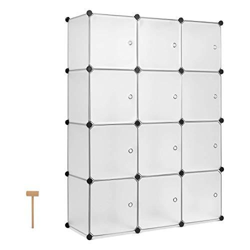Homfa DIY Kleiderschrank Regalsystem Kunststoff Schuhregal Steckregal 12-Würfel Aufbewahrungsschrank mit Türen weiß 110x36.5x145cm